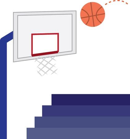 bleachers: Basketball hoop, basketball and bleachers