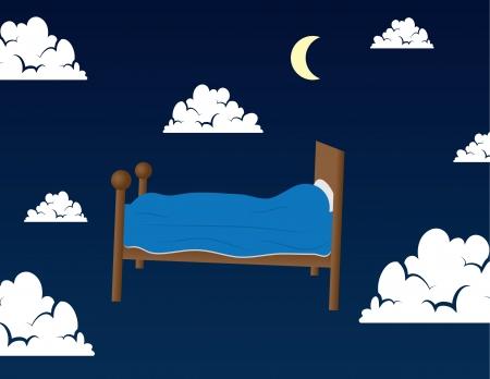 누군가의 꿈에 구름에 떠있는 침대 일러스트