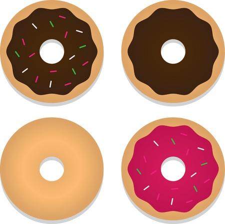 Vier geïsoleerde donuts met inbegrip van chocolade, aardbei en strooi gedekt. Stock Illustratie