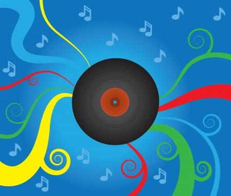 추상 음악적 배경으로 비닐 레코드를 회전시키기