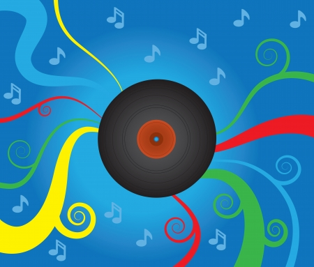 Spinning vinyl record with abstract musical background