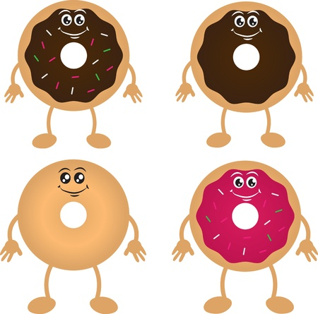 Four isolated donut cartoon characters