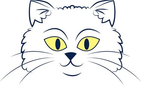 Große umrissen cartoon cat face Standard-Bild - 14874595