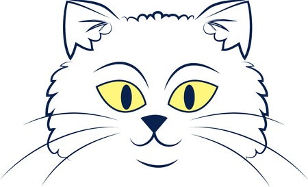 Large outlined cartoon cat face