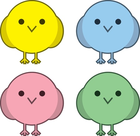 A few round birds in different colors