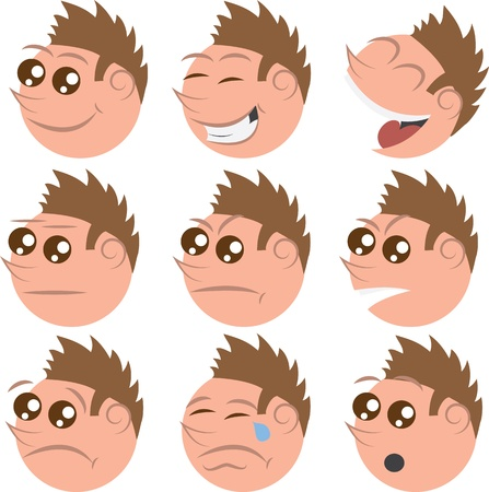 closed mouth: Isolated faces with brown hair. Different emotions for each face.