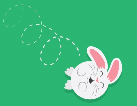 rolling: Cartoon round bunny rolling down a grassy hill  Illustration