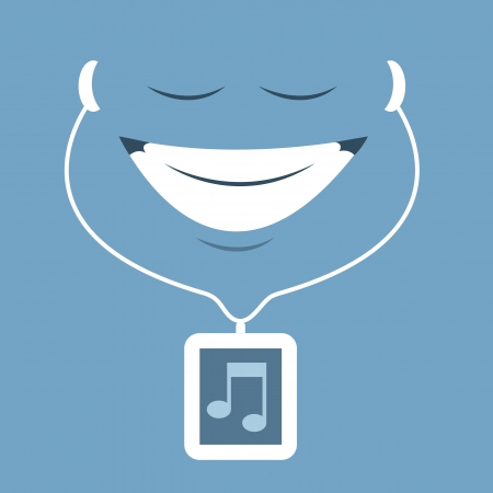 Cartoon face enjoying music from earbuds  Vector