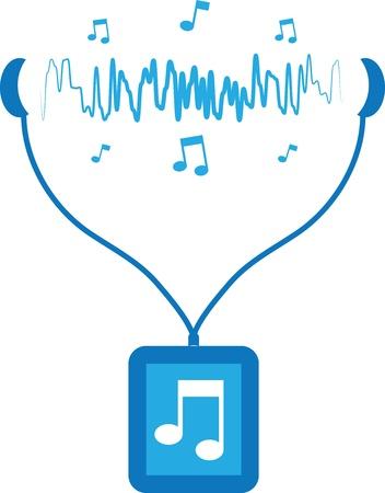 Blauw muziekspeler met geluidsgolven die voortvloeien uit oordopjes Stock Illustratie