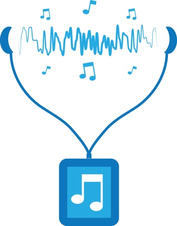 Blue music player with sound waves flowing from earbuds  Ilustração