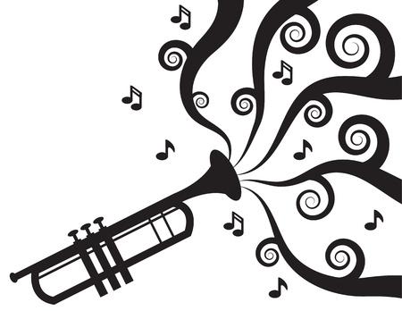 トランペットをシルエットで流れる音楽を演奏します。  イラスト・ベクター素材