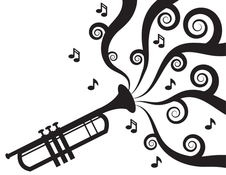 Trumpet playing with music flowing in Silhouette  Ilustrace