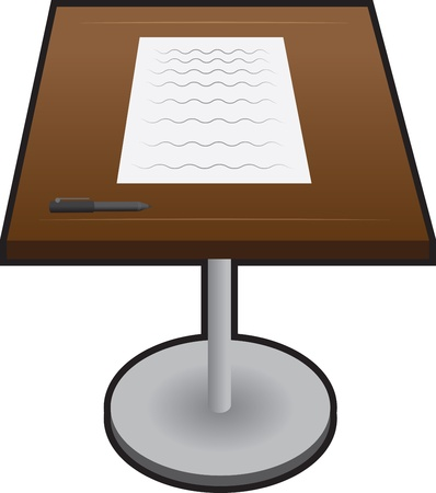 Isolated podium with paper and pen  Ilustração