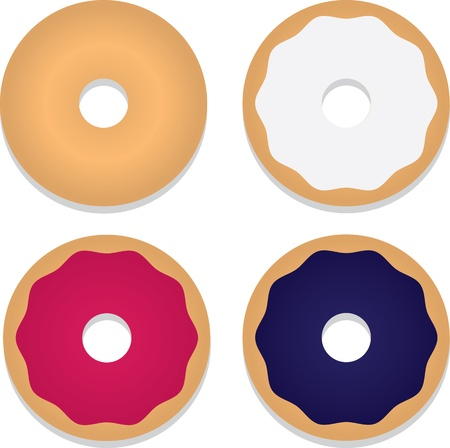 Isolated bagels with various toppings  Ilustração