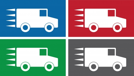 Truck symbols in various colors.  Vector