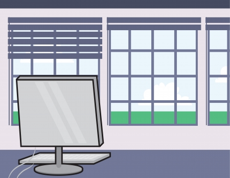 Business desk scene with computer  Vector