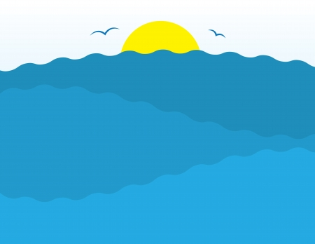 sea horizon: Water ripples and sun scene