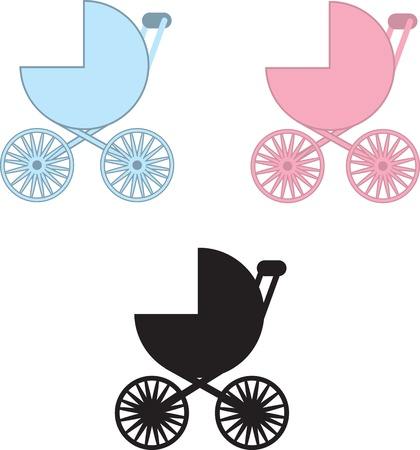mother and baby: Isolated baby carriages in blue, pink and black silhouette  Illustration