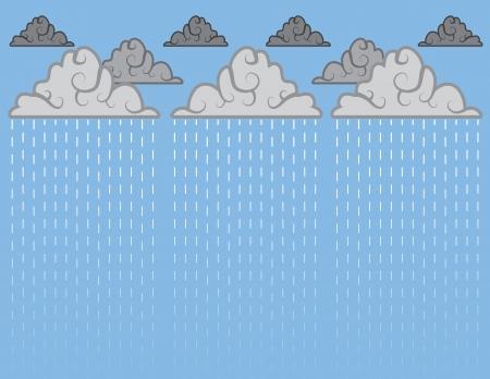 drench: Aguacero de lluvia con el cielo azul Vectores