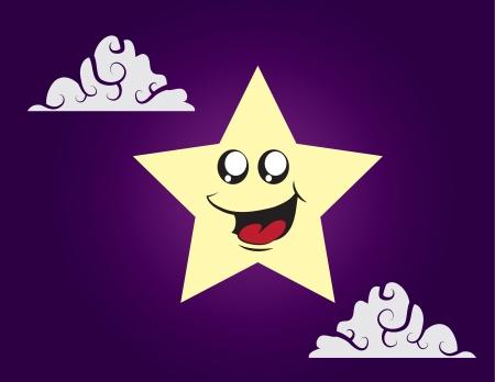 Star cartoon character in the sky  向量圖像
