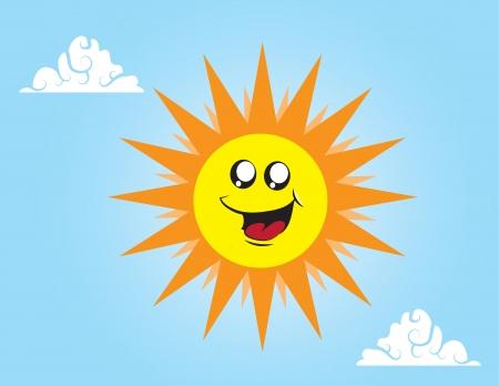 Sun cartoon character in the sky Stock Vector - 15137028