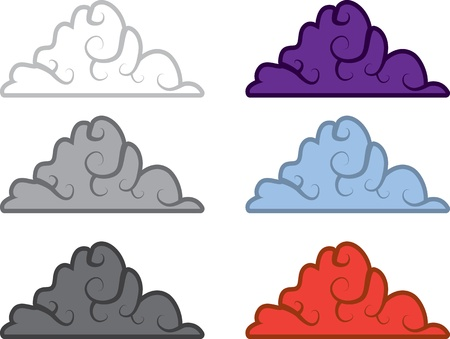 Clouds with spiral design in various colors  Ilustração