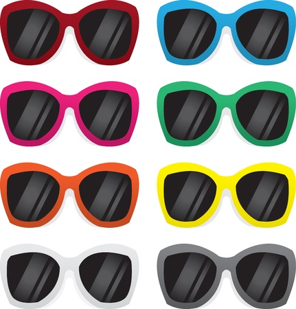 Plastic framed sunglasses in various colors  Illustration