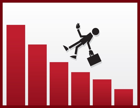 unsuccessful: Businessman figure falling from declining bar graph  Illustration
