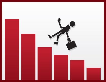 stumble: Businessman figure falling from declining bar graph  Illustration