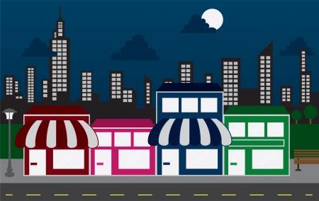 Store front strip mall winkels en nacht skyline van de stad