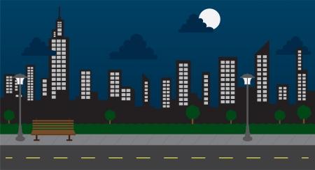 밤에 거리와 공원에서 스카이 라인