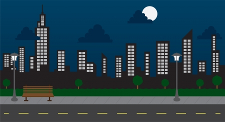 Skyline in the park with street at night  Vector