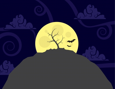 Lone tree on top of a hill in front of the large moon Stock Vector - 15330047
