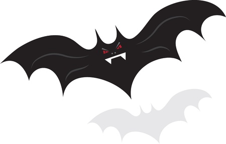 Flying isolated bat character over shadow