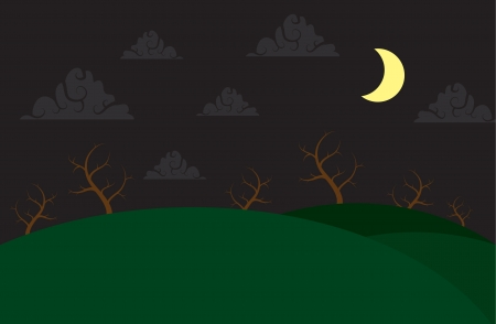 Spooky hill scene with moons and cloud Stock Vector - 15355597