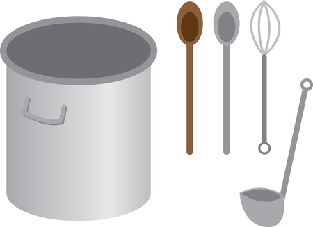 Stainless steel cooking pot with spoon whisk and ladle  Vector