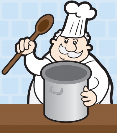 Chef cooking with large pot  Vector