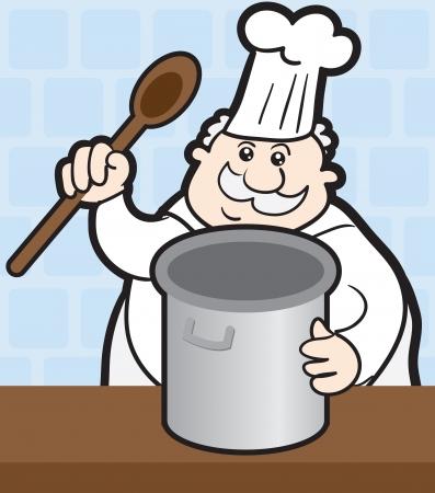 Chef-kok koken met grote pot