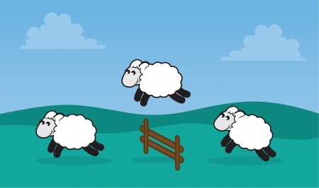 Sheep jumping over a fence in a grassy field