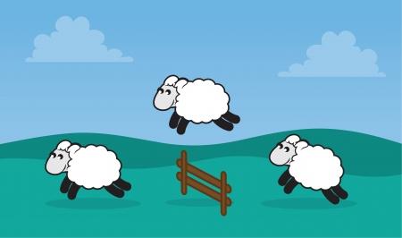 mouton cartoon: Les moutons sautant par-dessus une cl�ture dans un champ herbeux Illustration
