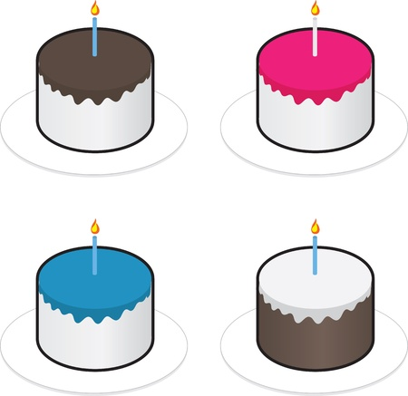 Chocolate, strawberry, blueberry and vanilla frosting cakes. Stock Vector - 15475551