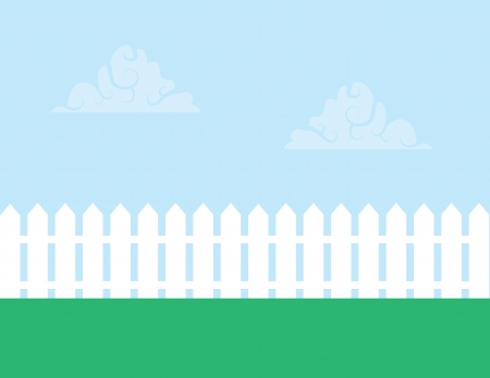 pasture fence: White picket fence with cloudy sky