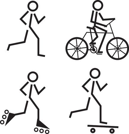 roller skates: Stick figures skating, running and biking