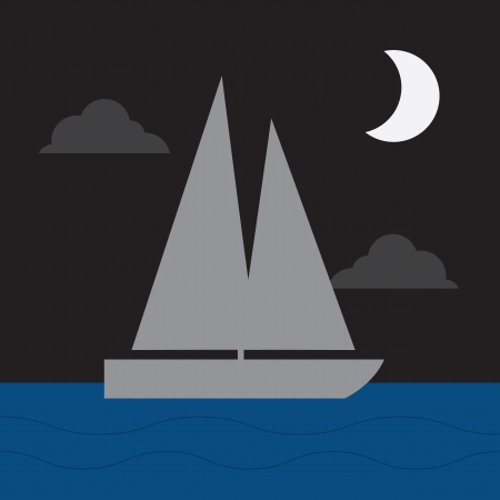 crescent lake: Sail boat in the water in the moonlight