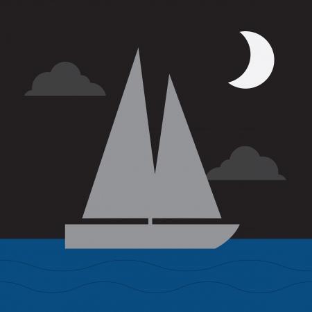 barca a vela: Veliero in acqua al chiaro di luna