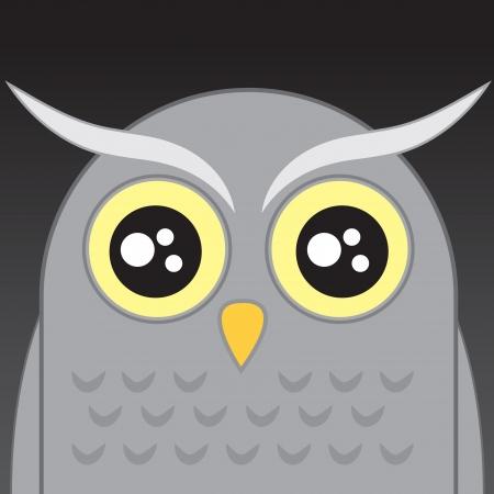 Gray owl cartoon head in the night Stock Vector - 15602700