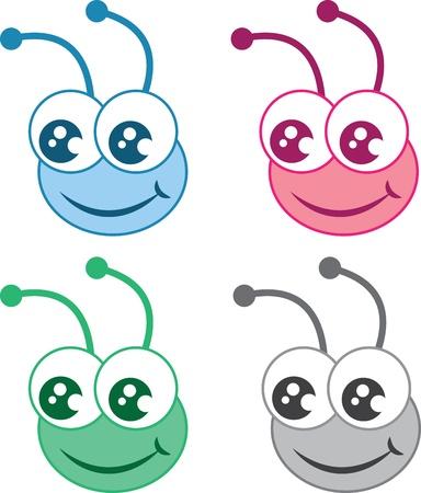 hormiga caricatura: Aislados de dibujos animados cabezas de errores en varios colores