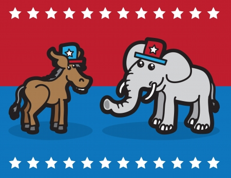 partisan: Elephant and Donkey representing political parties  Illustration