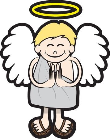 niño orando: Carácter aislado ángel con halo y las alas