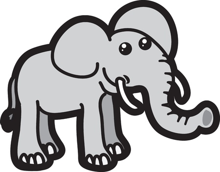 Isolated elephant cartoon character standing  Stock Vector - 15700911